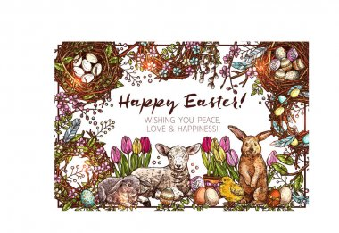 Happy Easter Sketch Background With Greeting