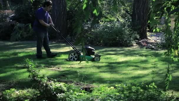 sekání trávy přes dvůr za stromem