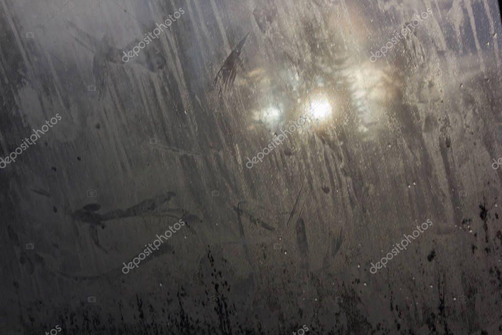 fingerprints and dirt on window