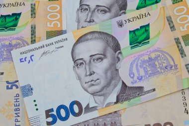 Ukrainian money. Background of five hundred hryvnia banknotes