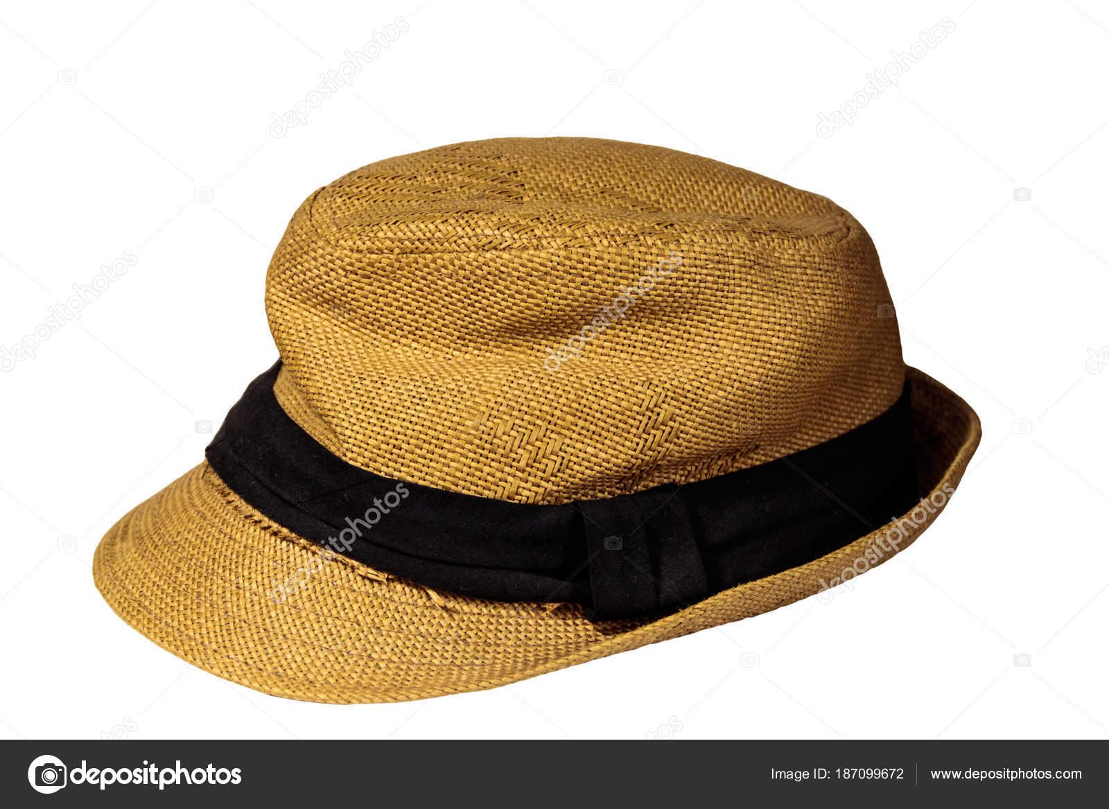 484ab0aa28c95 Chapéu de palha amarelo isolado no fundo branco — Fotografia de Stock