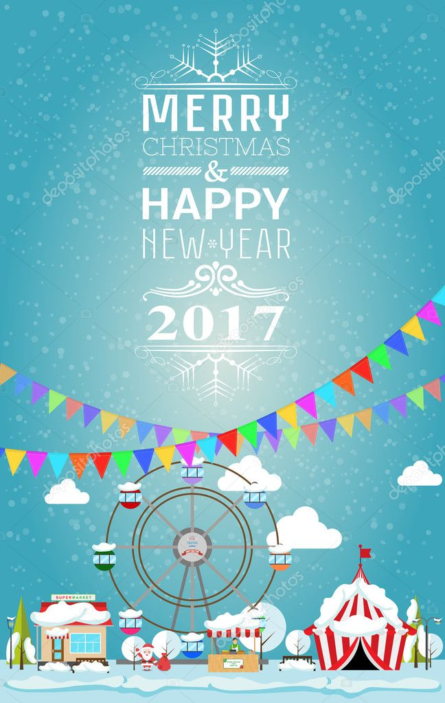 invitation card merry christmas and happy new year 2017 on fair vector illustration flat style