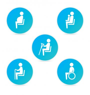 Disabilities and seniors, cripple, pregnant, mom or mother with child area sign set. Priority seating for customers, special place icons. Vector illustration flat style.