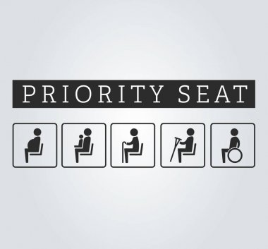 Disabilities and seniors, cripple, pregnant, mom or mother with child area sign set. Priority seating for customers, special place icons on background. Vector illustration flat style.