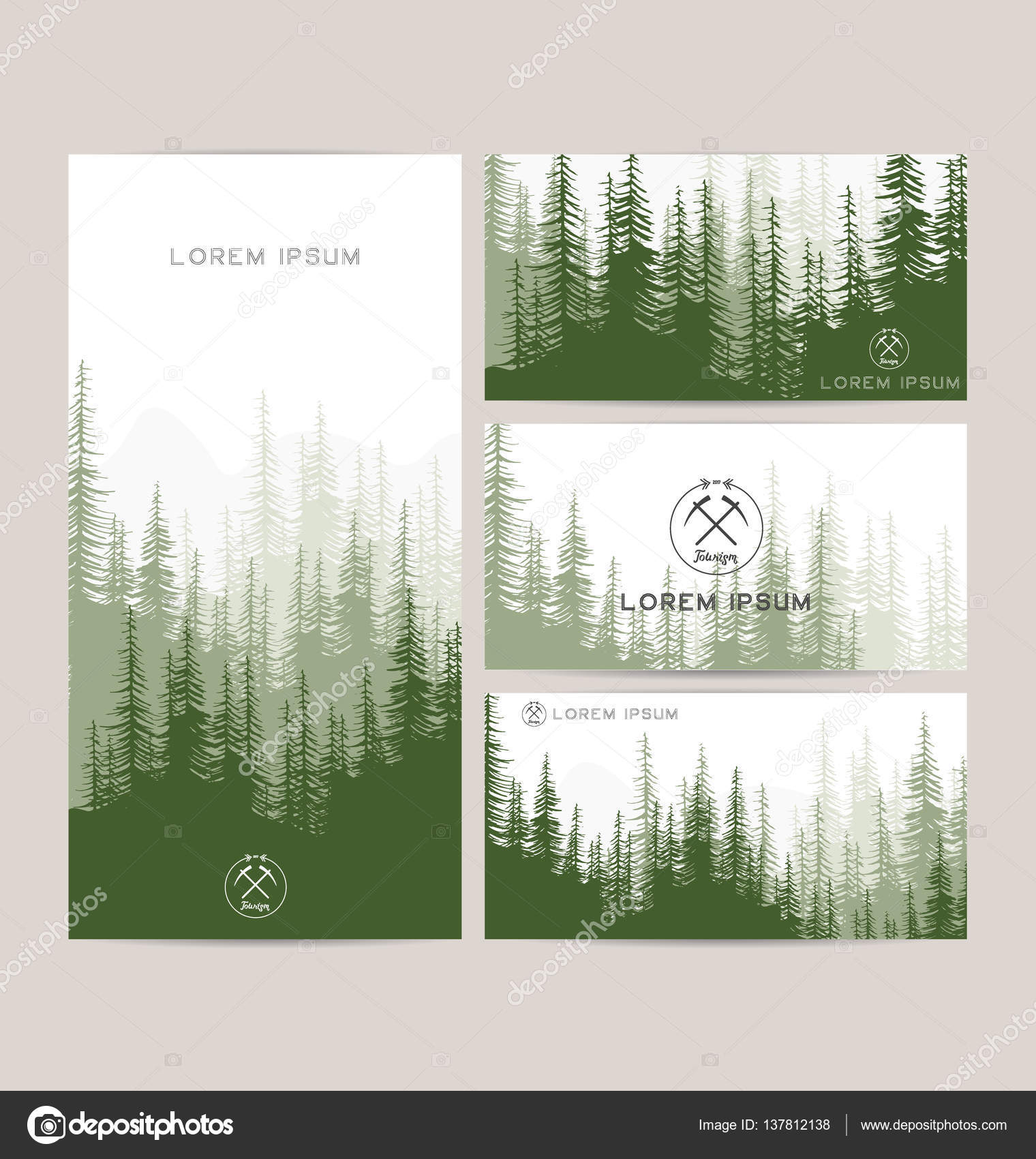 Business cards design set of green forest and mountains backgrounds business cards design set of green forest and mountains backgrounds templates design for greeting reheart Gallery