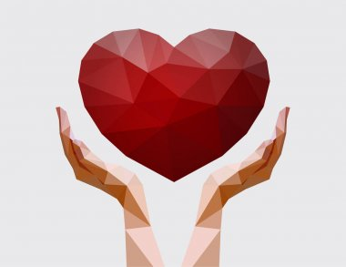Human hands holding polygonal heart. Love, peace and donation concept. Charity event. Vector illustration for non-profit organisation stock vector