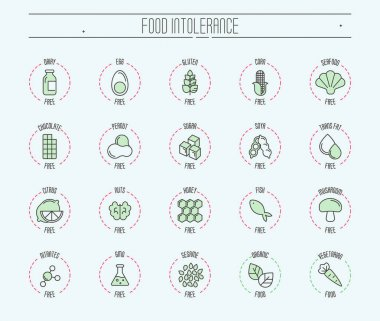 Set of ingredient warning label icons. Food intolerance. Common allergens (gluten, lactose, soy, corn and more), sugar and trans fat, vegetarian and organic symbols. Vector thin line illustration.