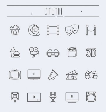 Set of cinema and movies related thin line icons. Vector illustration.