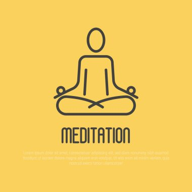 Simple sign of human in lotus pose for logo of meditation yoga school, class, spa salon. Vector illustration.