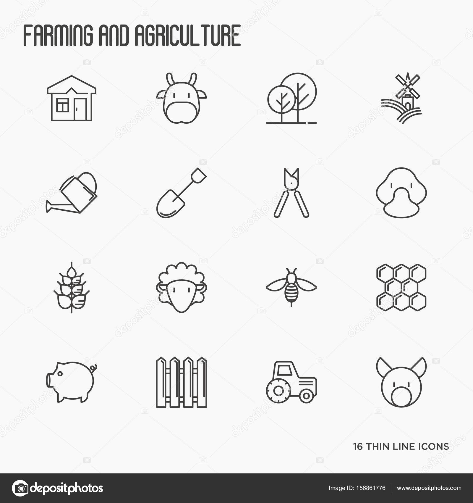 Agriculture Icons With Different Animals Tools And Symbols For Eco