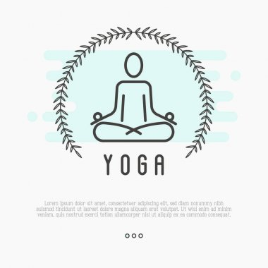Logo for yoga studio with human in lotus pose. Thin line vector illustration for meditation yoga school, class, spa salon.
