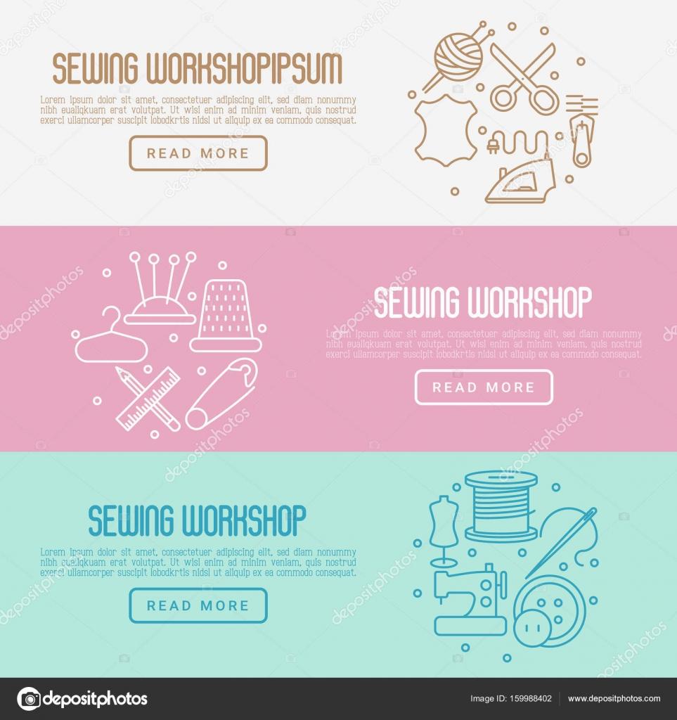 Concepto de taller de costura con línea fina los iconos conjunto ...