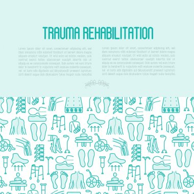 Orthopedic and trauma rehabilitation concept contains seamless pattern with thin line icons for web page or banner of clinics and medical centers. Vector illustration.