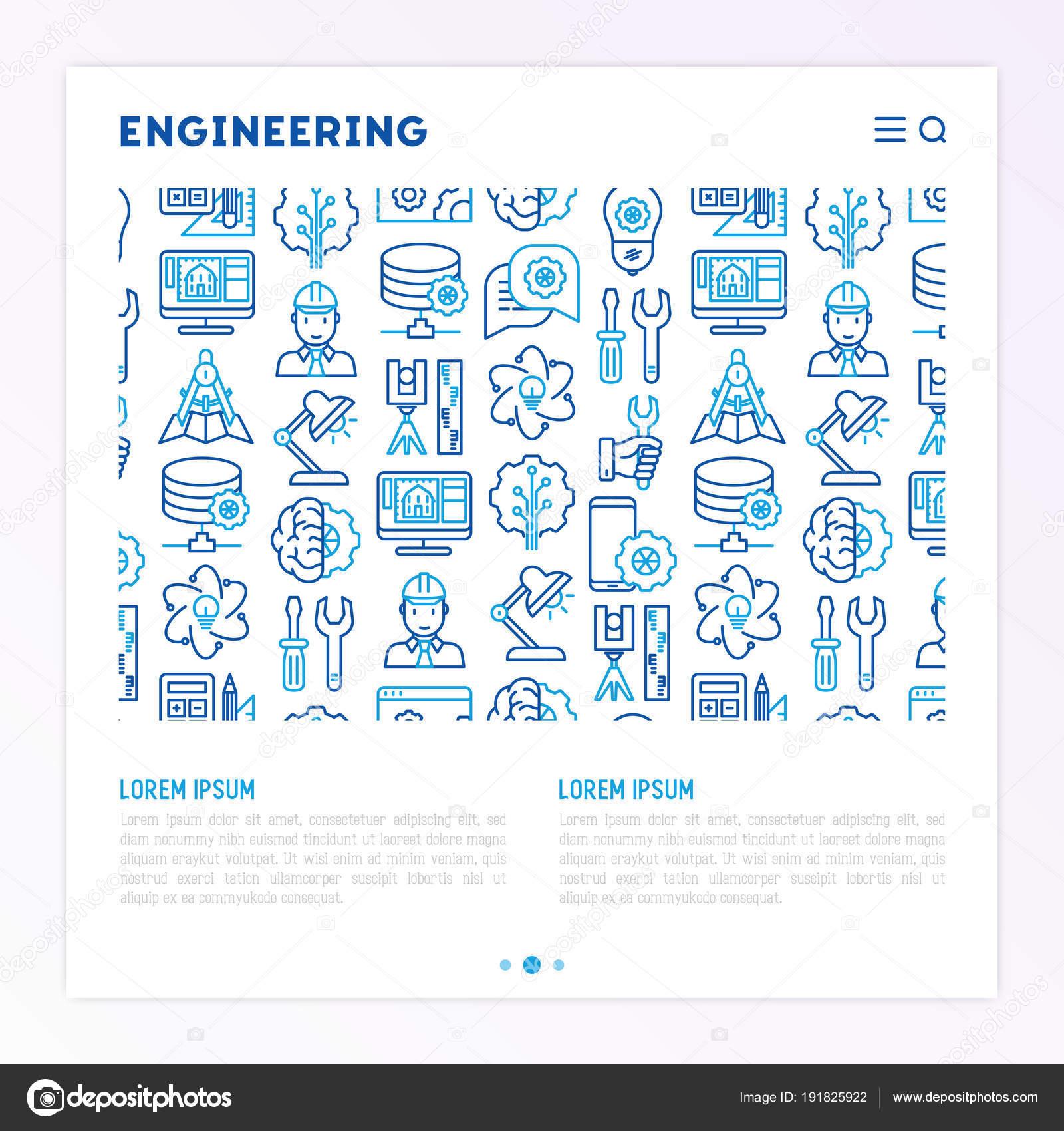 Concetto di ingegneria con le icone di linea sottile — Vettoriali ... 99fe013787d