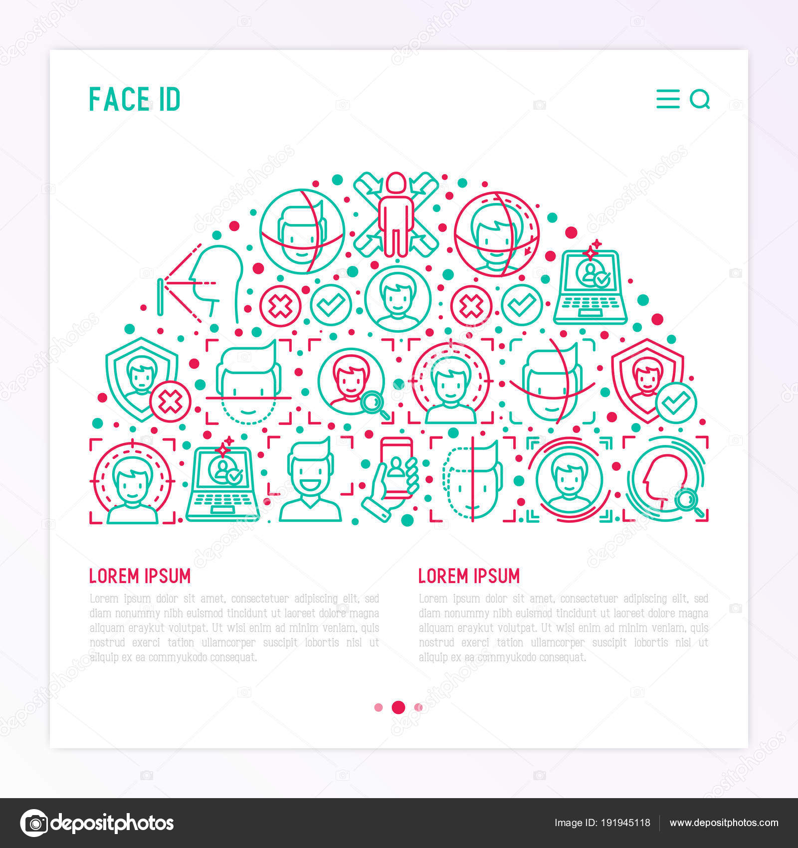 face id concept in half circle stock vector alexeyblogoodf