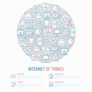 Internet of things concept in circle