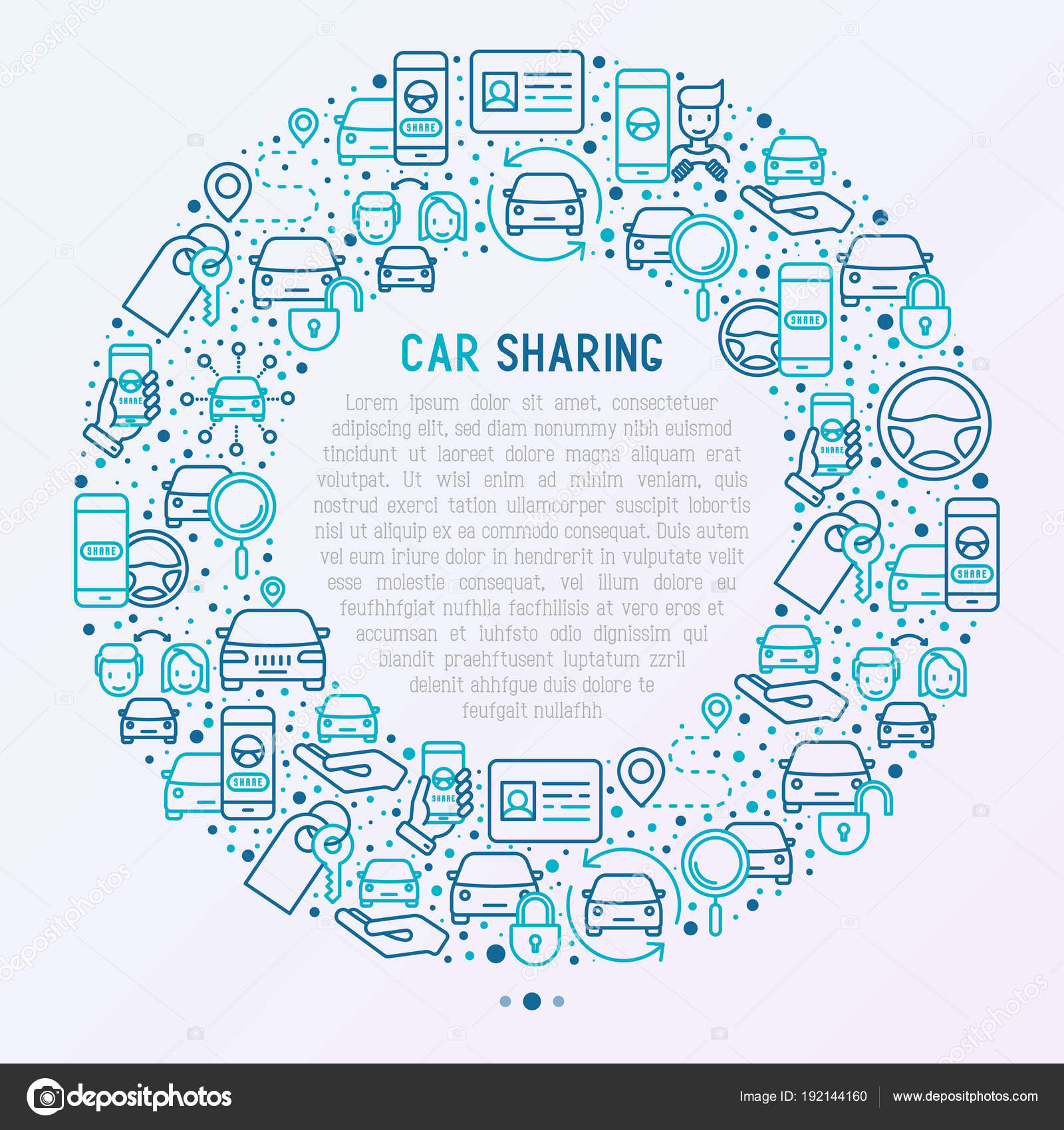 Автомобиль, совместное использование концепции с тонкой линии.