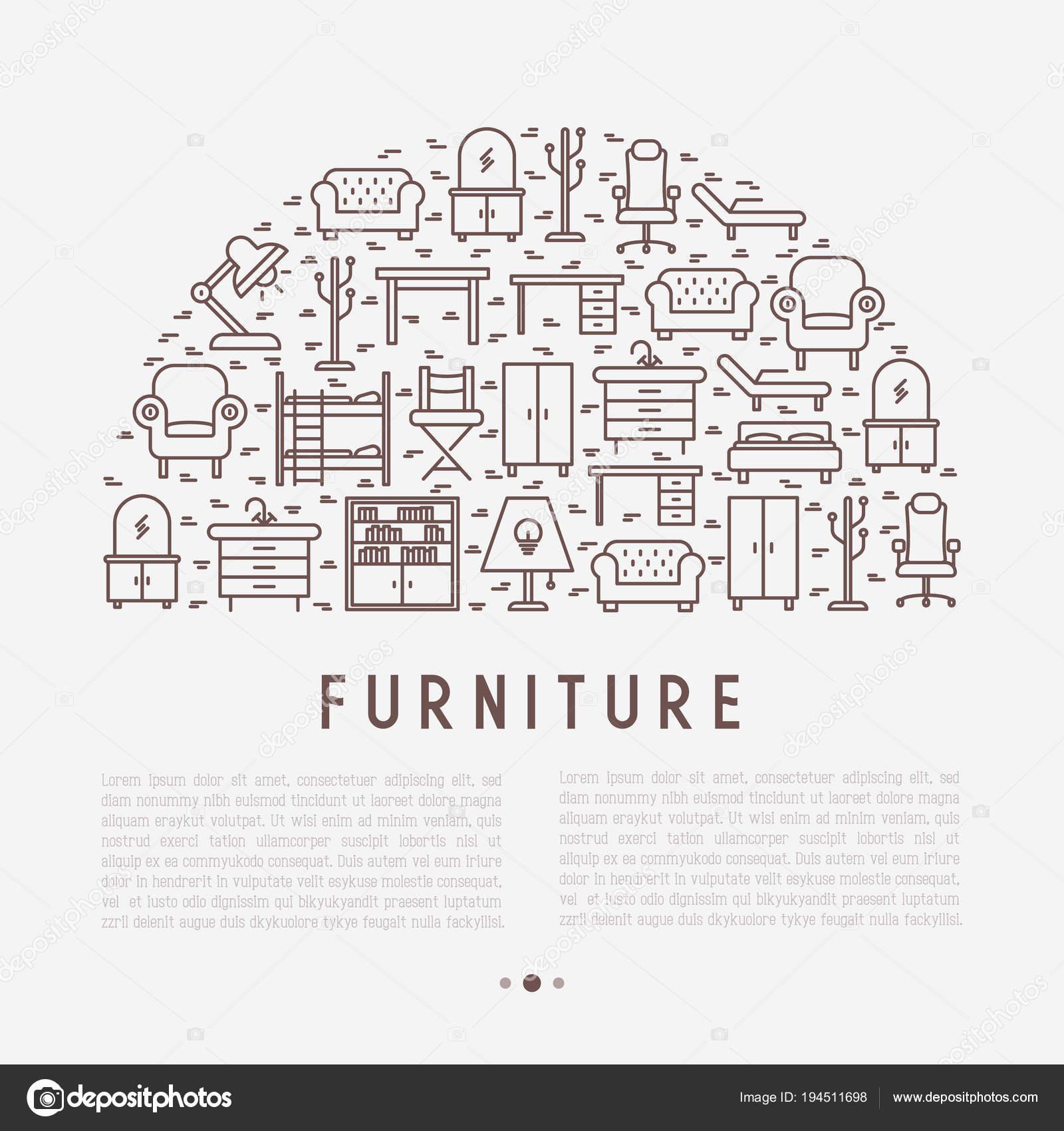 Concepto de muebles en medio círculo — Archivo Imágenes Vectoriales ...