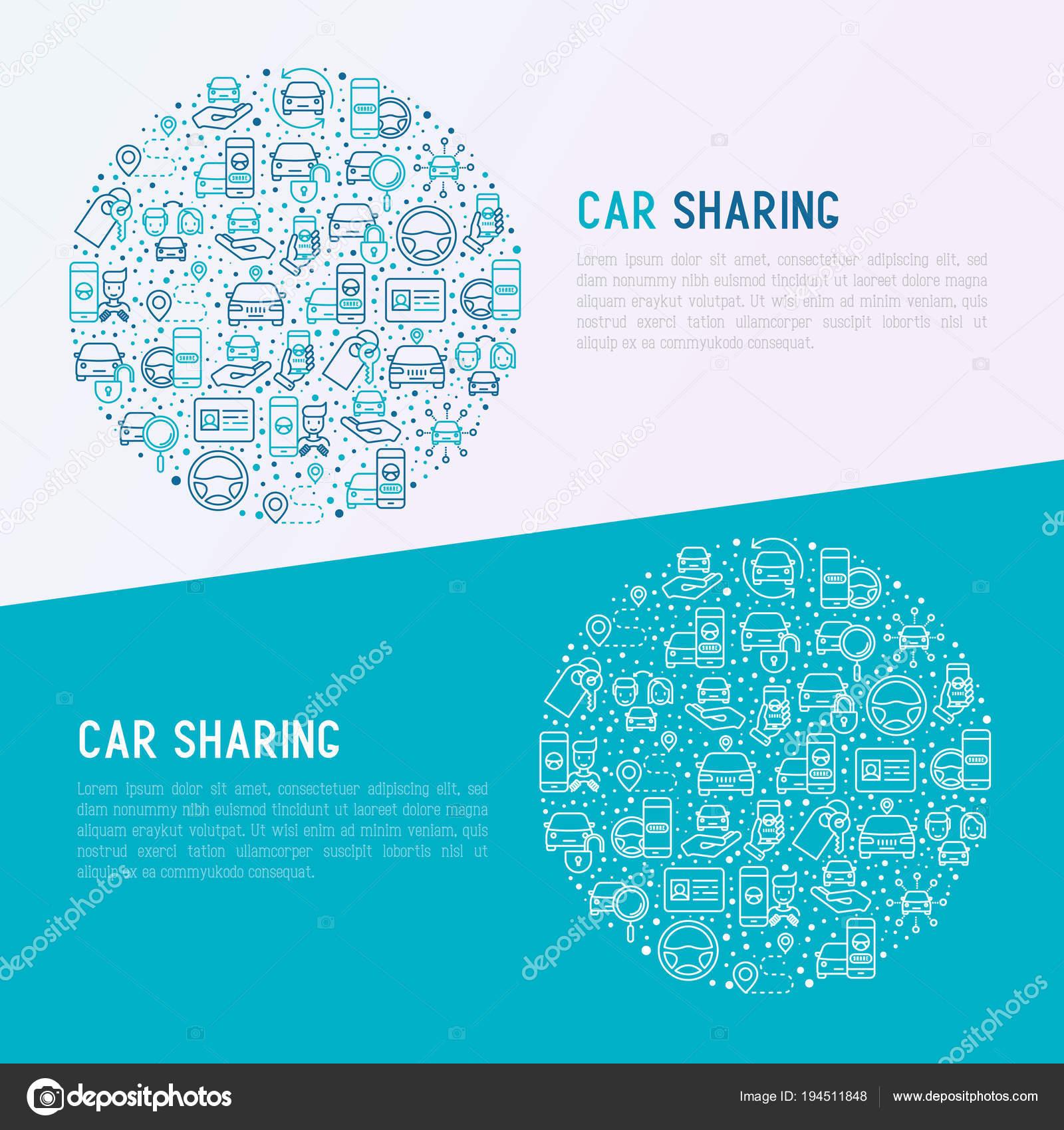 Автомобиль, обмена тонкая линия иконы set — векторное изображение.