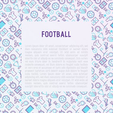 Football concept with thin line icons