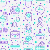 Photo Epilepsy seamless pattern with thin line icons