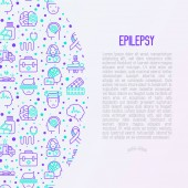 Photo Epilepsy concept with thin line icons