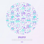 Photo Epilepsy concept in circle with thin line icons