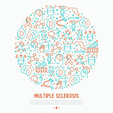 Multiple sclerosis concept in circle