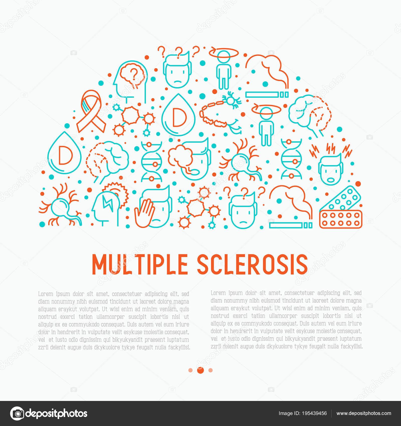 Рассеянный склероз концепции в полукруг — Векторное изображение ...