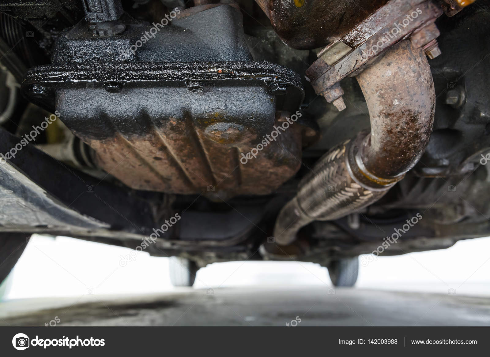 Oil Leak In Car >> Oil Leak In Car Engine Bottom View On Oil Sump Stock