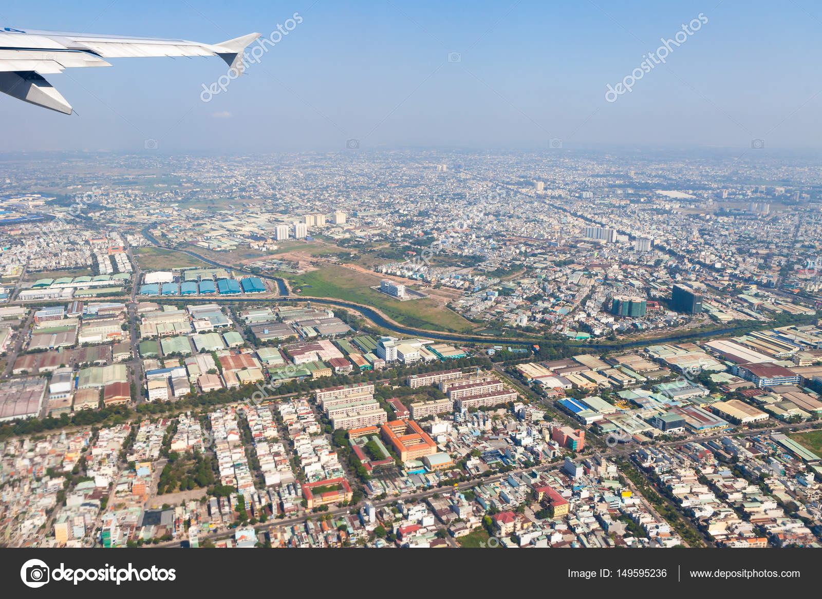 Saigon City Aerial View From The Plane Taking Off Stock Photo