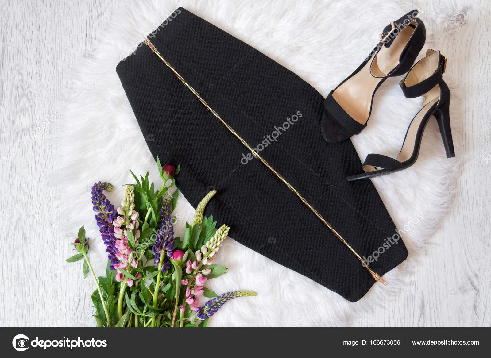 Midi Black Skirt With A Zipper And Shoes With White Fur A Bouquet