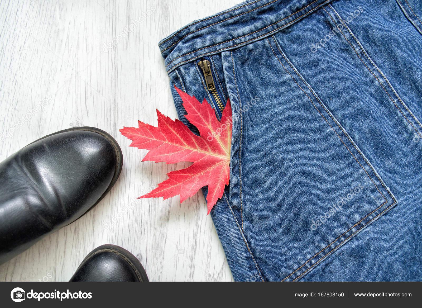 78cec56db Farmer szoknya, fekete cipő, és Vörös juhar levél, kollázs. Divatos ...