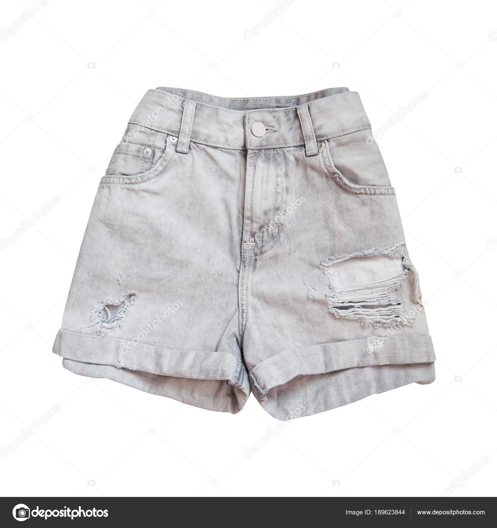88a15786a78d10 Short en Jean gris. Concept en vogue. Isolé — Photographie SomeMeans ...