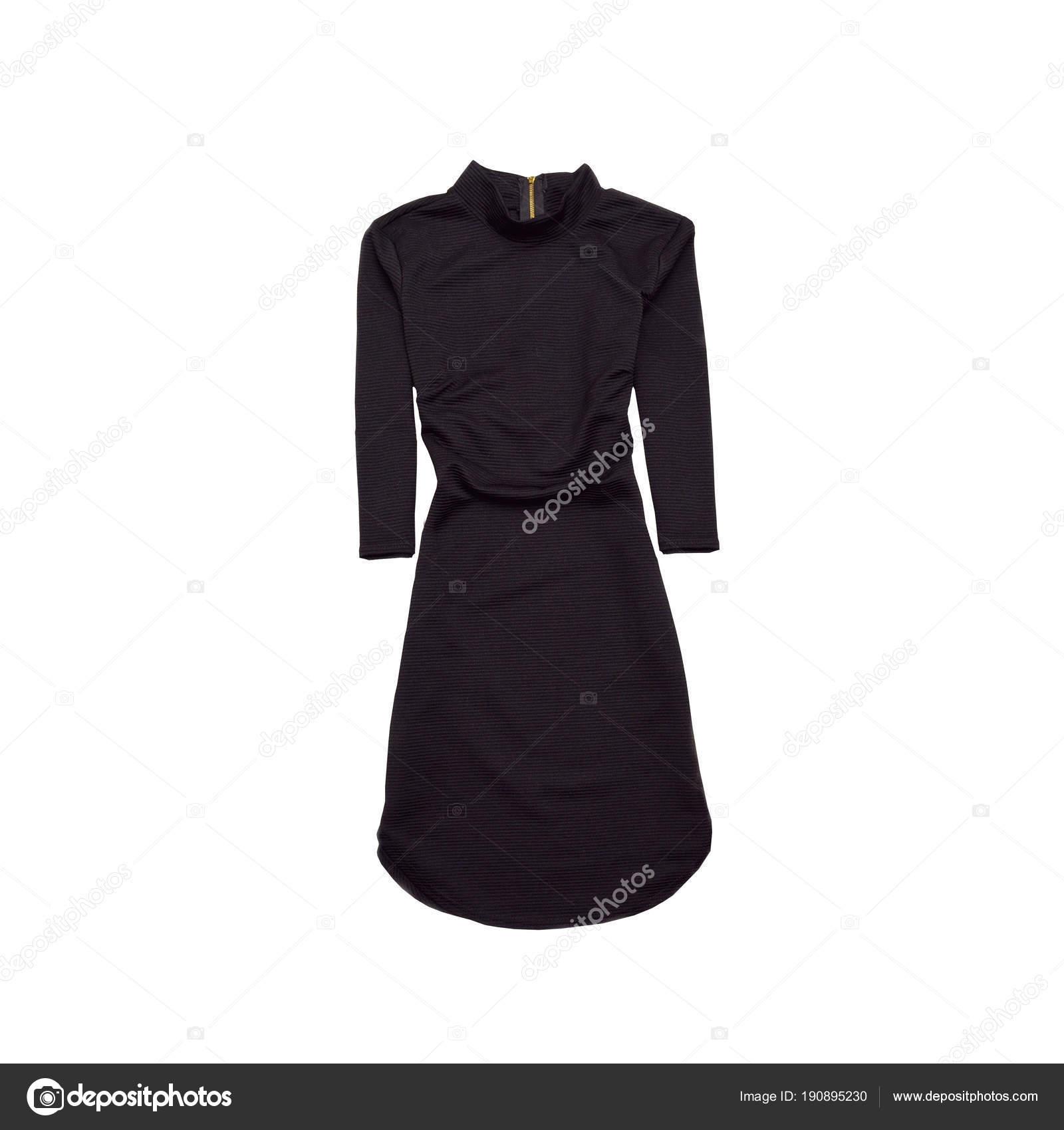 6f5899041213 Abitino nero con maniche. Concetto di moda. Isolato — Foto Stock ...