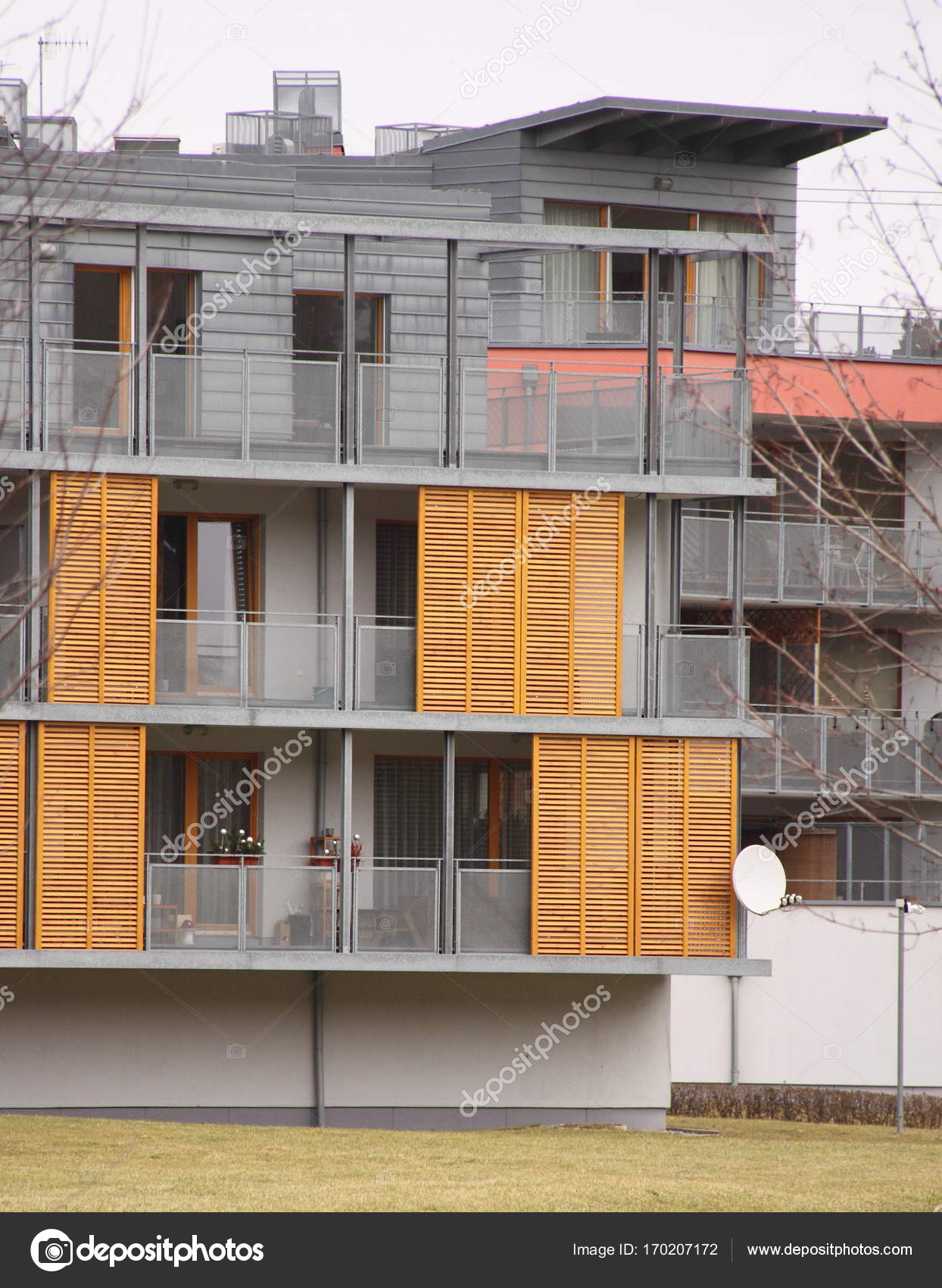 Detail of modern house facade with wooden shades — Stock