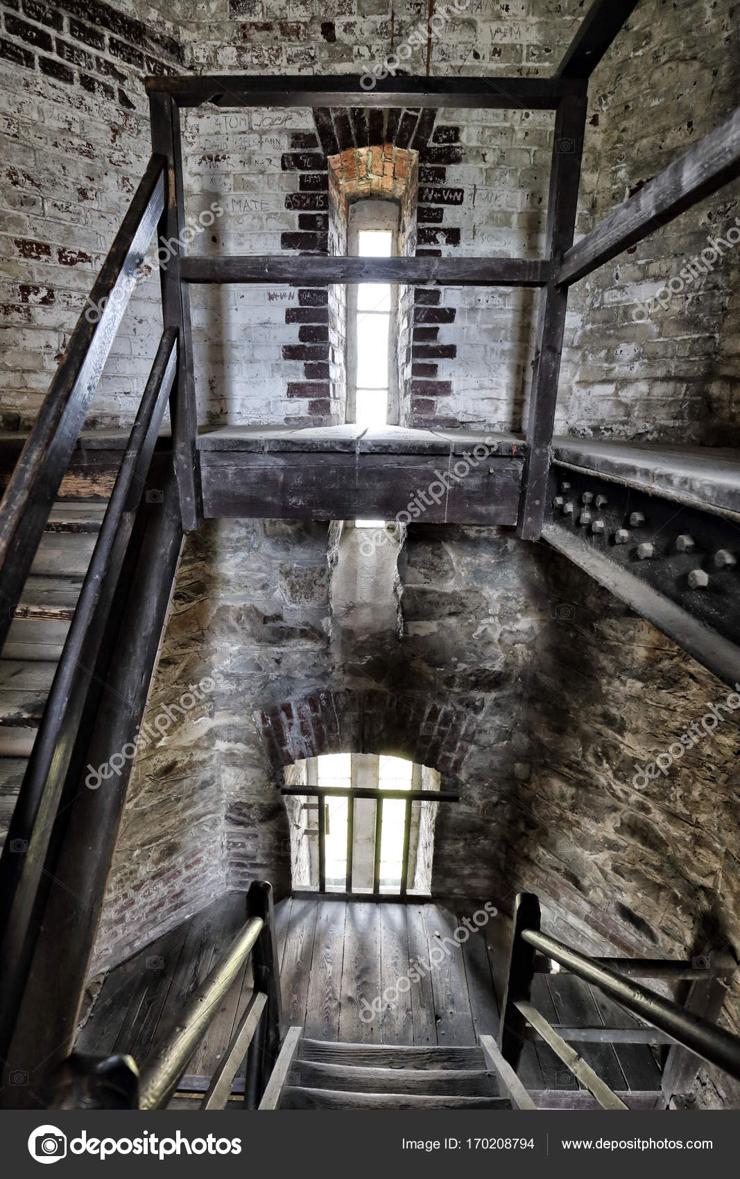 Interior Of The Old Tower With Wooden Stairs U2014 Stock Photo