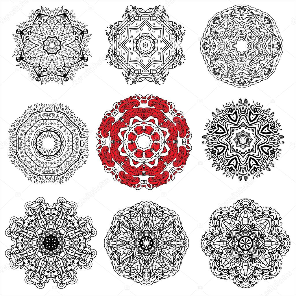 Un conjunto de nueve patrones circulares, mandalas, los elementos ...