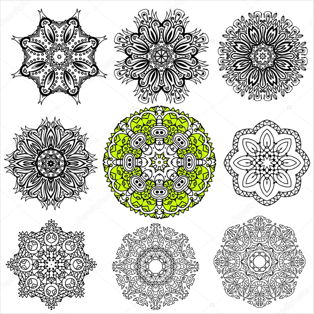 A set of nine circular patterns, mandalas, the elements for your design, vector, hand-drawn. Boho style