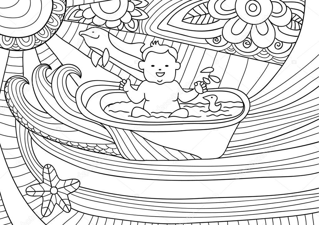 Línea de diseño de arte para colorear libro para adultos. Bebé ...