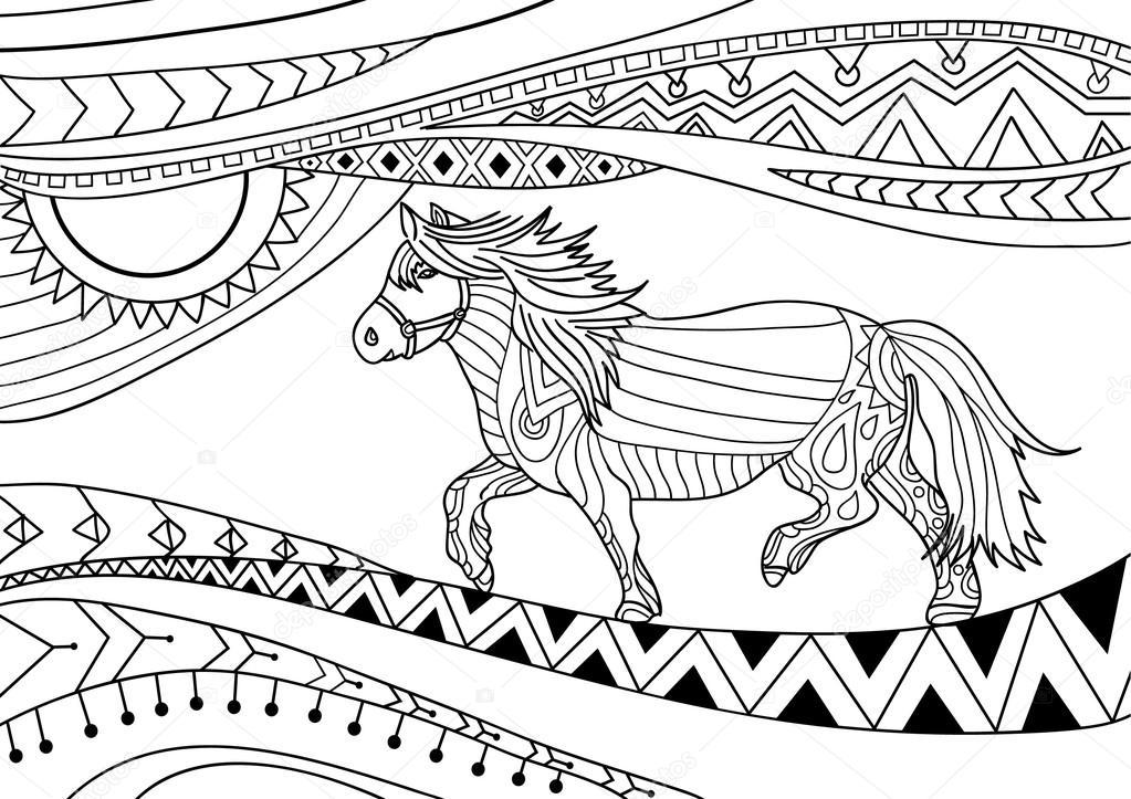 Libro para colorear para adultos. Diseño de arte de línea. El ...