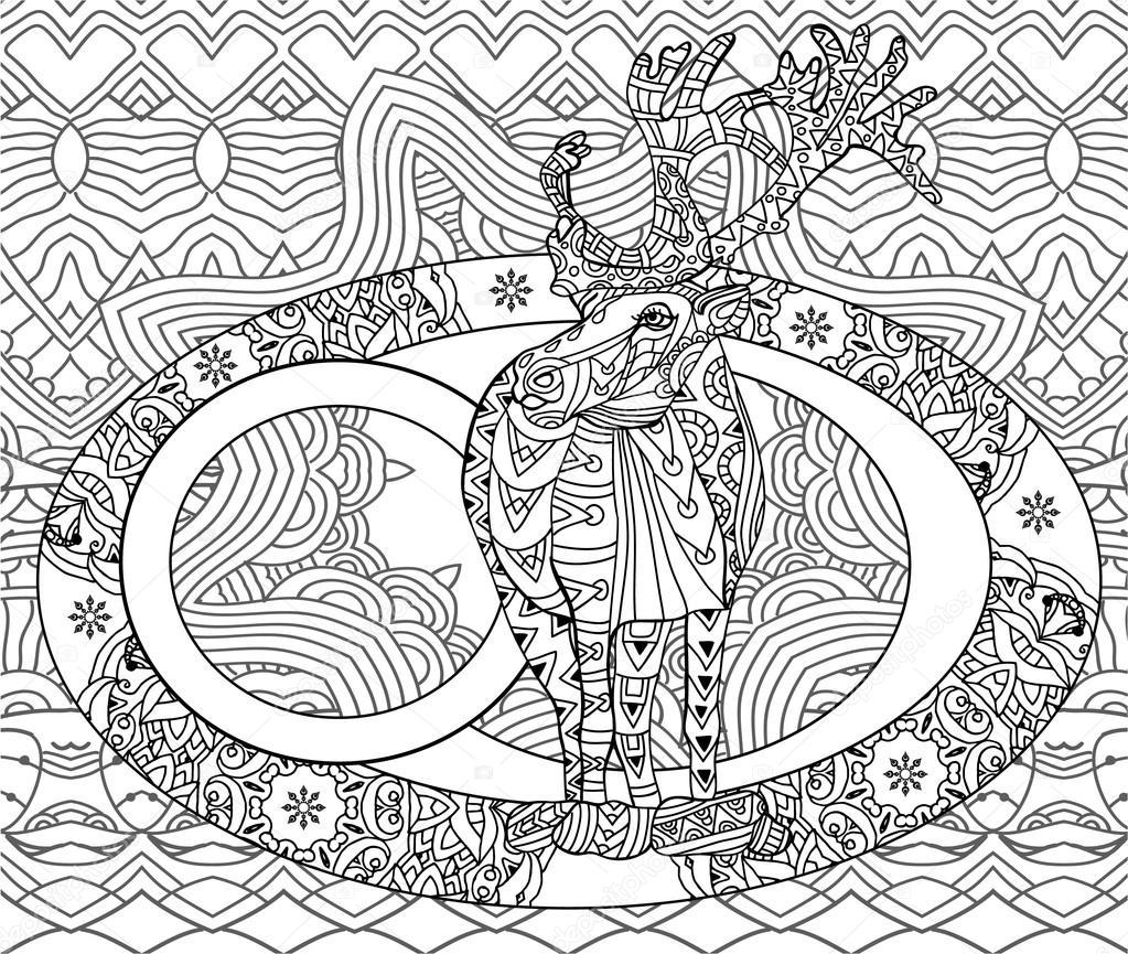 Tarjeta de Navidad de arte de línea. Libro para colorear para ...
