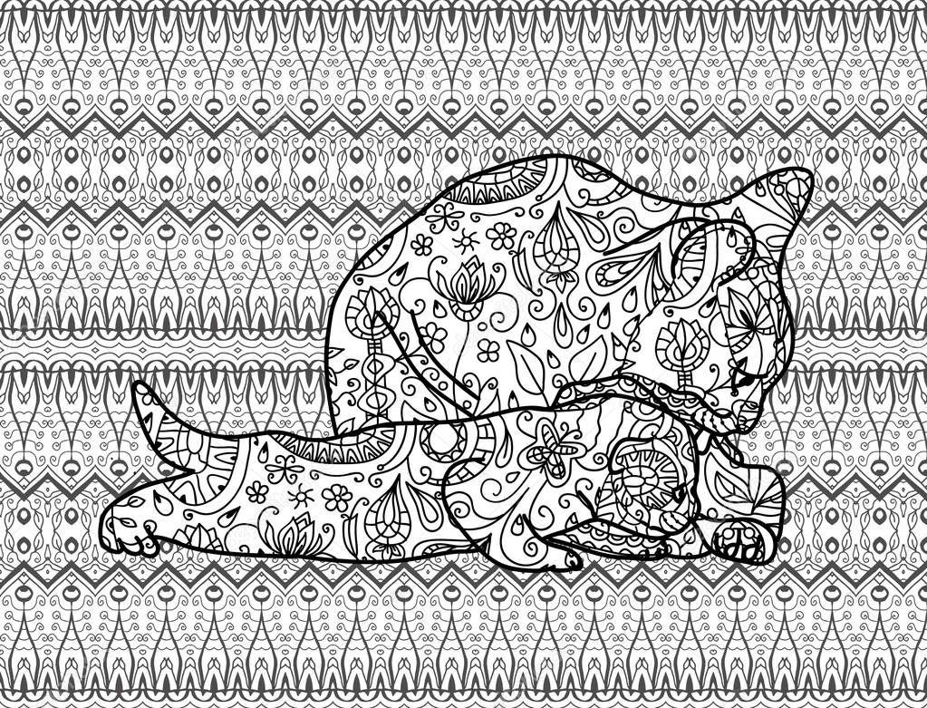 Página para colorear para adultos. Gato madre con un gatito. Línea ...