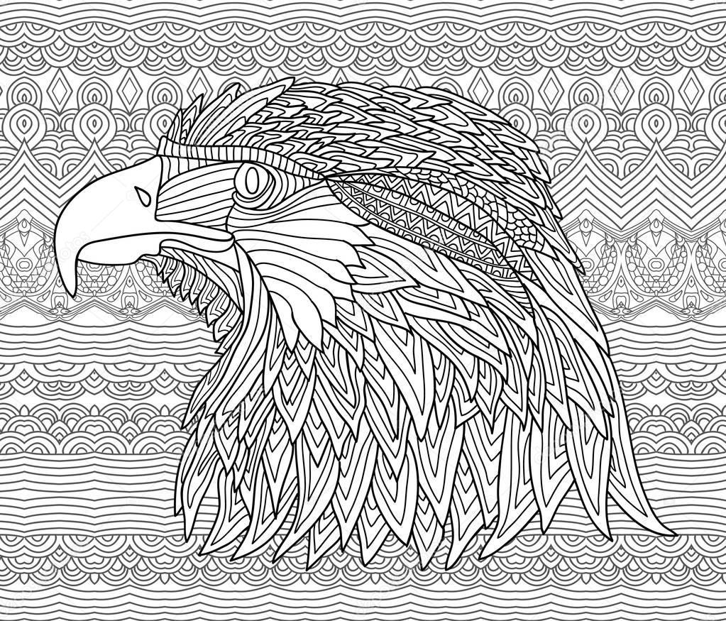 eagle mandala coloring pages - zenart boek kleurplaat voor volwassenen handgetekende
