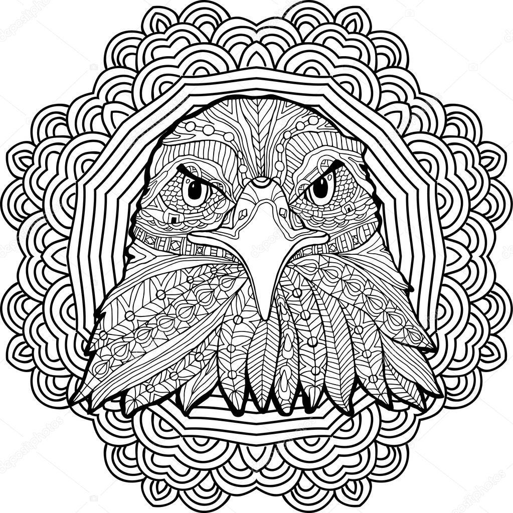 Página para colorear para adultos. Popa del águila sobre un fondo de ...