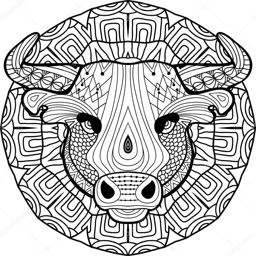 окраска антистресс сильный Bull рисуется вручную с
