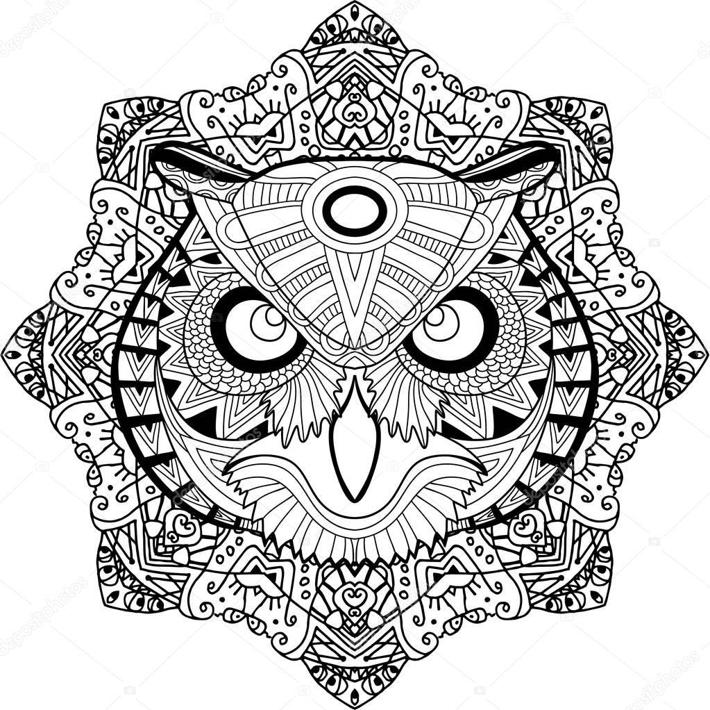 Окраски страницы для взрослых. Кормой Сова на фоне mandala ...