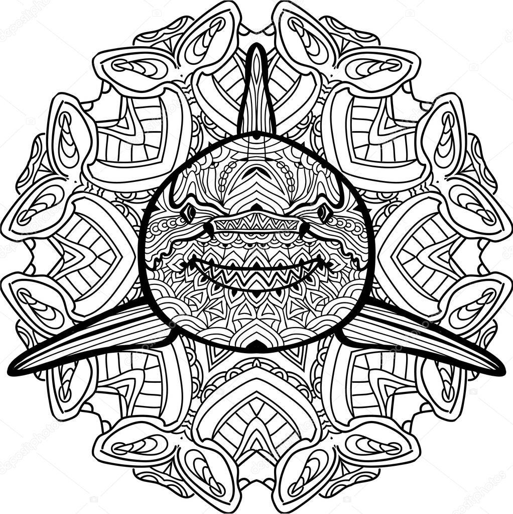 Antistress Malbuch. Räuberische Hai wird von hand mit Tinte ...