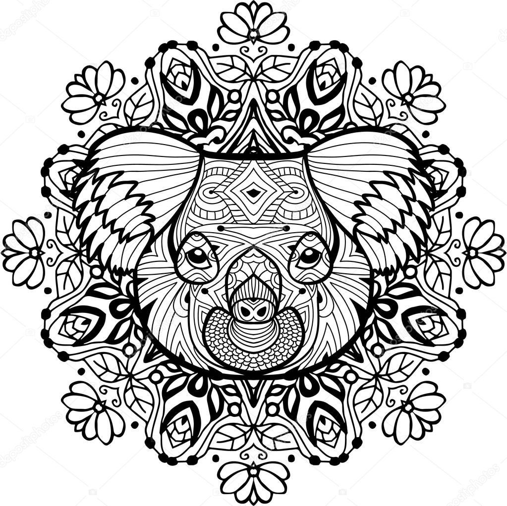 totem coloring page for adults the of the koala