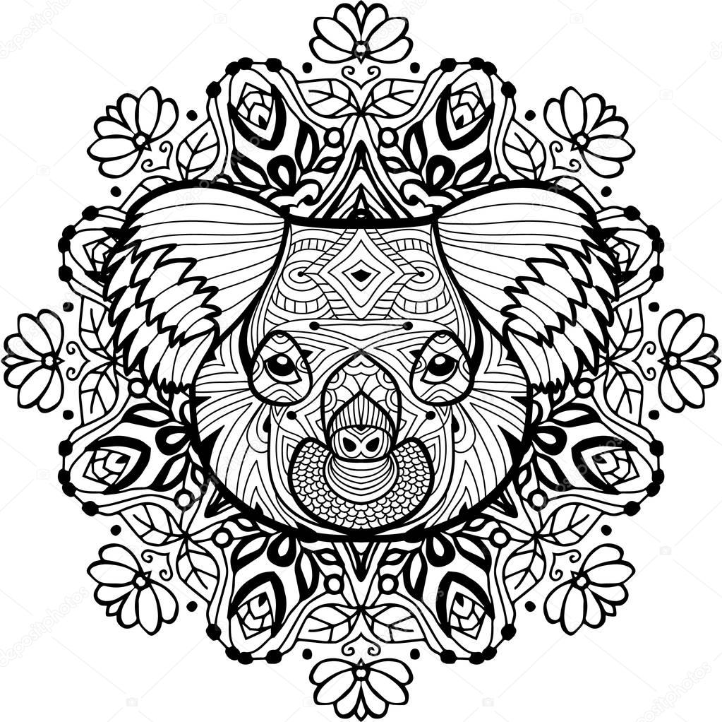Volwassen Kleurplaten Zomer Totem Coloring Page For Adults The Head Of The Koala